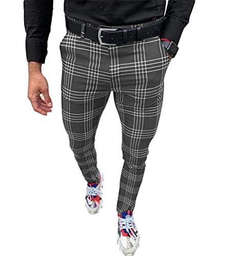 pantaloni uomo quadri scozzesi Onsoyours Pantaloni a Righe da Uomo Pantaloni Casual Estivi alla Moda Pantaloni a Sezione Sottile Uomo Pantaloni da Jogging Slim Fit con Tasche Pantaloni Eleganti A Grigio S