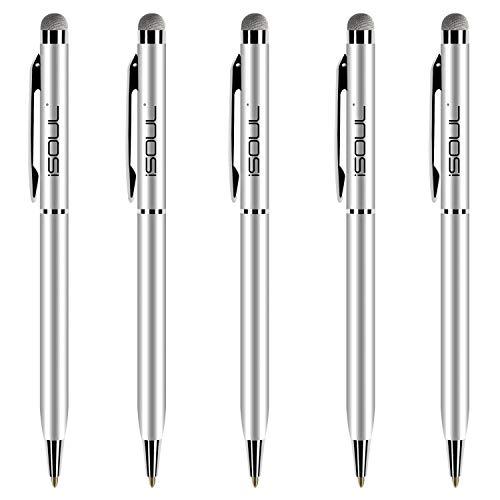 Stylus Pen, 5 Stücke Eingabestift Touchstift Stylus Kompatibel mit iOS Android Geräten, Stylus für iPhone iPad Galaxy Huawei OnePlus Smartphones Tablet Kapazitiver Kugelschreiber (Silber)
