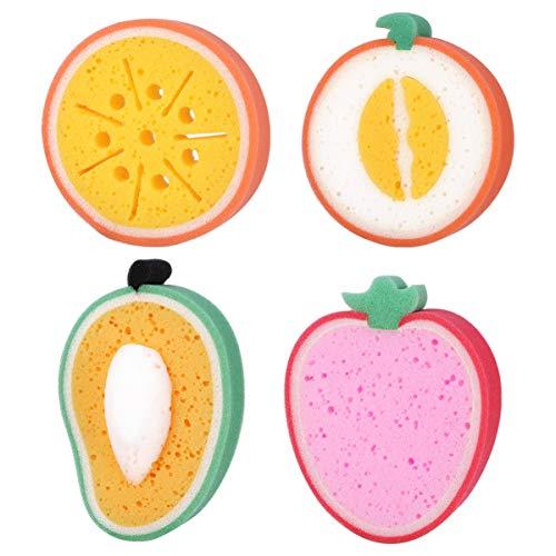 Artibetter 4Pcs Fruits Éponge de Bain Brosses de Bain Éponges Épurateur de Corps Exfoliant Corps Éponge de Nettoyage pour Enfants Enfants (Style Mixte)