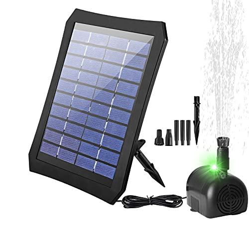 longziming Solar Springbrunnen, 3.5W Solar Teichpumpe mit effizient Konvertierung-Bunten LED-Lichtern, 200L/H, 1200mAh Batterie, 2 Fontänenstile für Wasserzirkulation Vogelbad,Teich,Gartendekoration