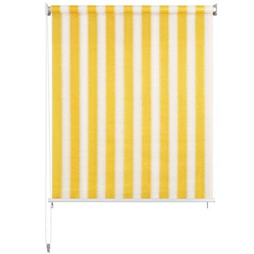 Nishore Persiana Enrollable de Exterior Toldo Vertical para Balcón, Patio, Porche o Pérgola A Rayas Amarilla y Blanca 220 x 230 cm Fácil Montaje