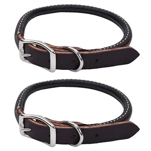 "Coastal Pet Circle T Latigo Leather Round Dog Collar 5/8"" Width by 14"" to 16"" Adjustable Girth"
