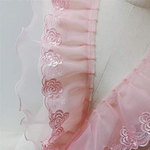 1 metro Pastoral Rosa con volantes de encaje Escote de encaje Organza Encaje Vestido de novia Traje Diy Accesorios de tela-13cm de ancho, China