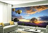 BIZH Pegatinas de pared Papel pintado Moderno Natural Lavanda púrpura Original Globo aerostático Vuelo Hotel Hall Mural,Los 400 * 280cm,