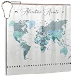 Noick Adventure Awaits World Map in Teal Boutique Shower Curtain Hooks Polyester Home Decor 72x72inch