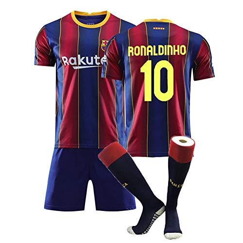 XH Ronaldinho # 10 Jersey Herren Fußball Trikot-Set alle Größen Kinder und Erwachsene (Color : Blue+Red, Size : Adults-S)