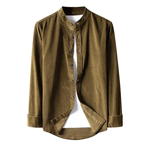 Herren Corduroy Shirt Freizeithemd, Dasongff Einfarbig Langarmshirt Hemd Button Down Shirts Regular Fit Casual Cordhemd