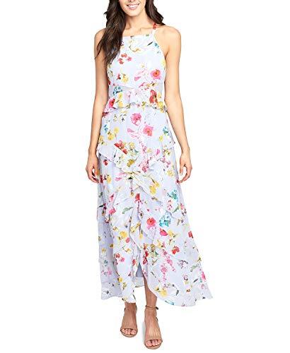 RACHEL Rachel Roy Womens Ruffled Floral Print Maxi Dress Blue 10