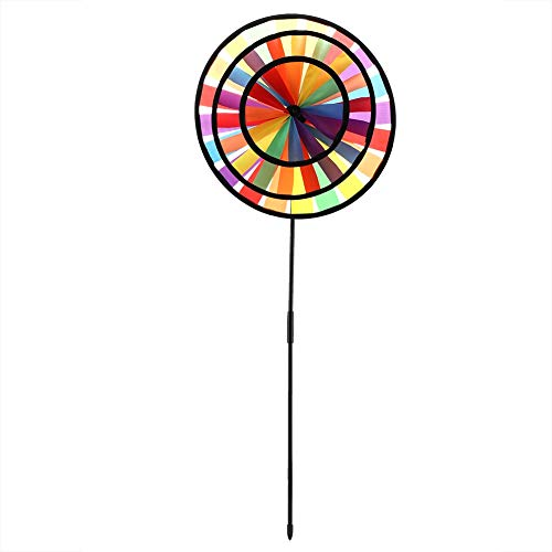 Pangdingk Dreirad Windmühle, Multicolor Regenbogen Windrad Whirligig Kinder Spielzeug Garten Party Outdoor Decor