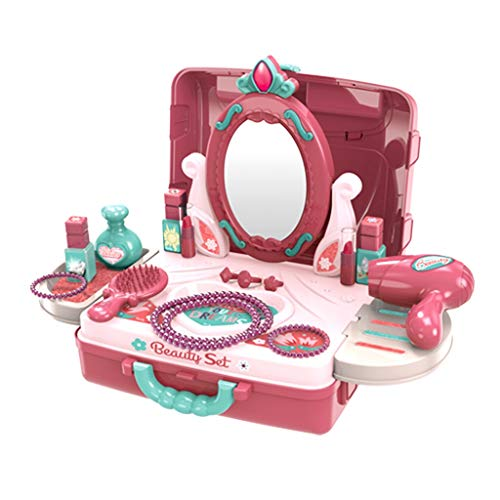 Vanity Pretend Play Set, 2 in 1 Girls Fashion Makeup Table and Suitcase with Accessories Toy Set, Kids Vanity Table and Beauty Play Set, Cosmetic Toys , Best Gifts for Toddlers Girls 1-3 (Multicolor)