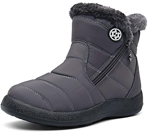 Gaatpot Damskie buty zimowe, wodoszczelne, z ciepłą podszewką, buty zimowe, buty zimowe, buty z krótką cholewką, szary, 39 EU
