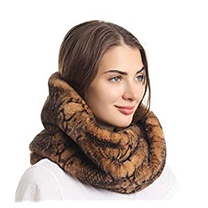 La Carrie Women's Winter Snakeskin Print Faux Fur Infinity Scarf Loop Circle Neck Warmer