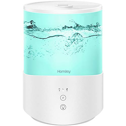 Homasy Umidificatore Ambiente Bambini 2,5L, Umidificatore Ultrasuoni a Riempimento Superiore, 28dB Umidificatore Bambini Luci Notturne 8 Colori, 2 Regolabile Modalità Nebbia, Modalità di Sonno-Bianco