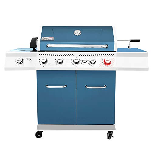 Royal Gourmet GA5403B Premier 5 BBQ Propane Gas Grill with Rotisserie Kit, Sear, Infrared Rear Side Burner, Patio Picnic Backyard Cabinet Style Outdoor Party Cooking, Blue
