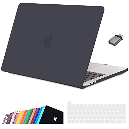 INESEON Funda 2020 MacBook Pro 13 Pulgadas con Touch Bar A2338(M1)/ A2251/ A2289, Ultra Delgado Carcasa Protector Case Cover con Cubierta de Teclado & Adaptador USB C, Gris Oscuro