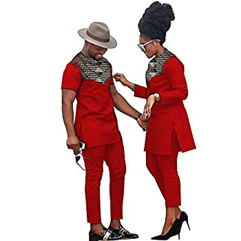 African Clothes for Couples Women Ankara Print Top and Pants Sets Bazin Riche Couples Matching Men Top and Pants Sets 527 3 men2XL