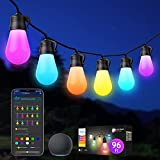 Govee Outdoor String Lights, RGBWW 96ft(2 Pack 48ft) Smart LED Bulbs Wi-Fi and Bluetooth Control, Patio Lights Work with Alexa , IP65 Waterproof, 40 Scene Modes, Dimmable for Garden, Backyard