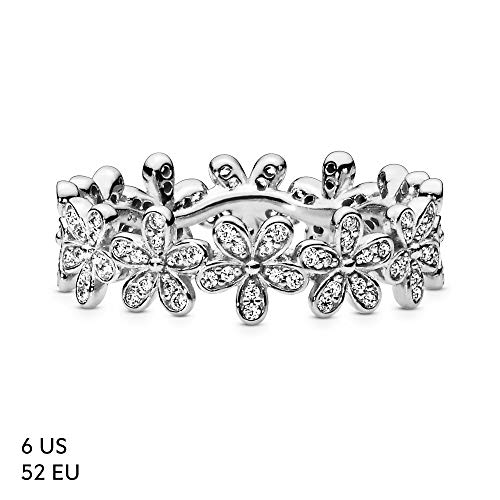 Pandora Jewelry Daisy Flower Cubic Zirconia Ring in Sterling Silver, Size 4.5