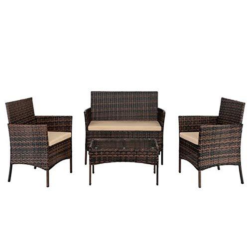 guog Sillón de salón 2 piezas sillas de brazo 1 pieza asiento de cristal templado mesa de café de ratán conjunto marrón degradado