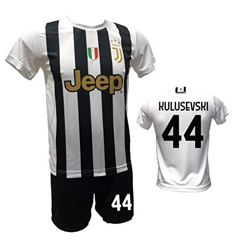 DND DI D'ANDOLFO CIRO Completo Calcio Maglia bianconera Home Kulusevski 44 e Pantaloncino con Numero 44 Stampato Replica Autorizzata 2020-2021 Taglie da Bambino e Adulto (12 Anni)
