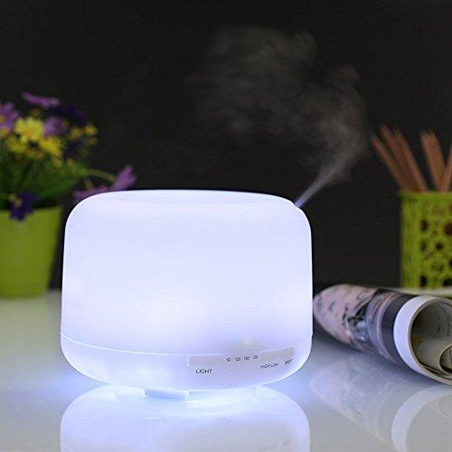 Kyansin Humidificador Ultrasónico,500ml Difusores de Aceite perfumado,Difusor de Aromaterapia para Casa Dormitorio con 7 Luces LED Que Cambian de Color,Cool Mist,Súper Tranquilo,Apagado Automático
