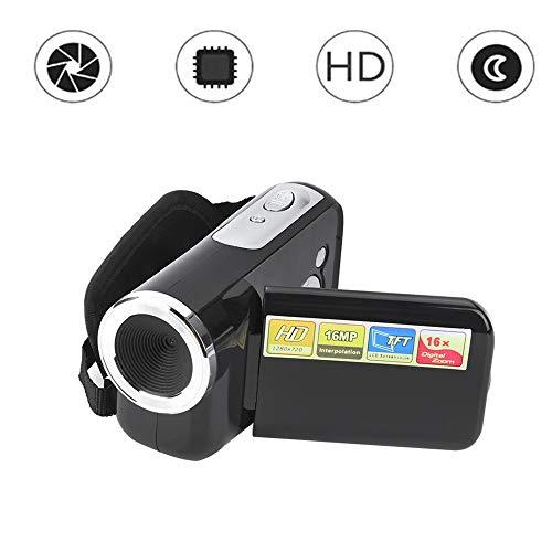 Videocamera, 16X HD 1080 * 720 2 inch TFT LCD-scherm digitale videocamera camcorder ondersteunt fotografie en video voor fietsen, klimmen en hardlopen. Beste cadeau voor verjaardag. (Zwart)