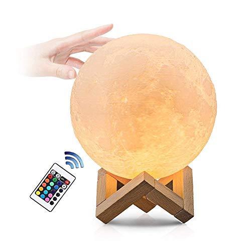 Mond Lampe, Remote & Touch Control 3d Mondlicht Lampe, Lampe Mond mit Touchschalter eingebaut Batteriebetrieben dimmbar, mit Timer, 16 Lichtfarben wechselbar, 12CM