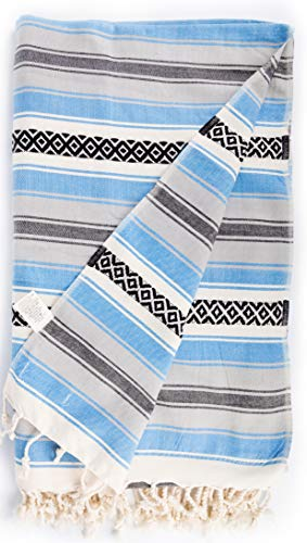 Bersuse 100% Baumwolle - San Jose XXL Strandtuch Sofaüberwurf - Blau