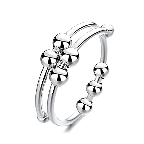 Silver Adjustable Fidget Rings, Anxiety Relief ring, Anti-worry Bead Rings Spinner Ring Gift for Women Men Girls