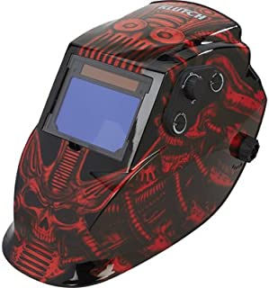 Klutch 800 Series Large View Auto-Darkening Welding Helmet - Red Skull Design