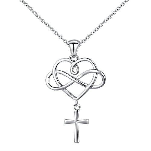 LINLIN FINE JEWELRY 925 Sterling Silver Infinity Loving of God Heart Cross Pendant Necklace for Women Teen Girls,18 inch