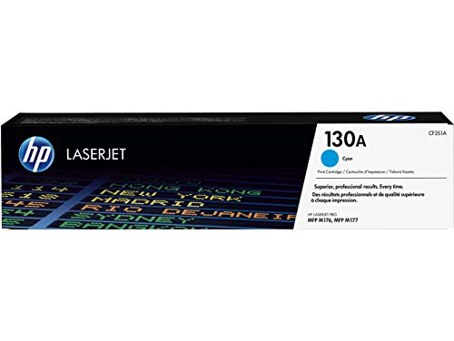 HP 130A CF351A Cartuccia Toner Originale per Stampanti Color LaserJet Pro M177fw e Color LaserJet Pro Serie M176n, Ciano