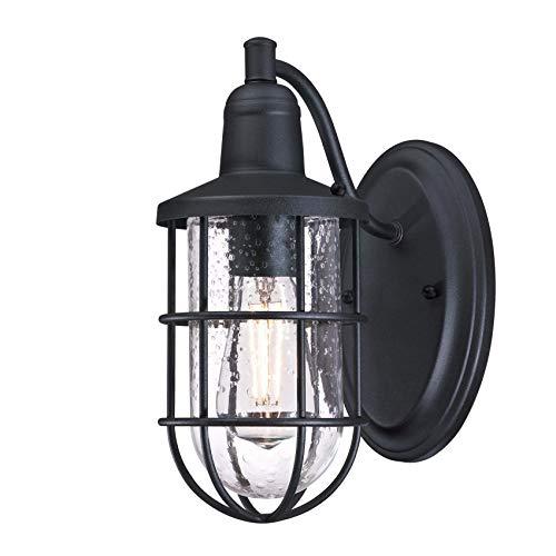 Westinghouse Lighting 6579340 – Apparecchiatura da parete da esterno LED dimmerabile Marius a due luci con luce rivolta verso l'alto e il basso, finitura in nichel lucente con vetro smerigliato