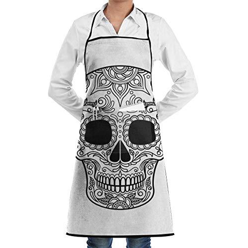 Lawenp Delantal Sugar Skull Floral Pattern Dia De Cook Delantales con Bolsillos para Restaurante Camareros y Cocineros Profesionales