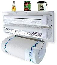 Piesome Triple Paper Dispenser | 4 in 1 Foil Cling Film Tissue Paper Roll Holder for Kitchen with Spice Rack -White | Kitchen Triple Paper Roll Dispenser & Holder for Tissue Paper Roll(White)