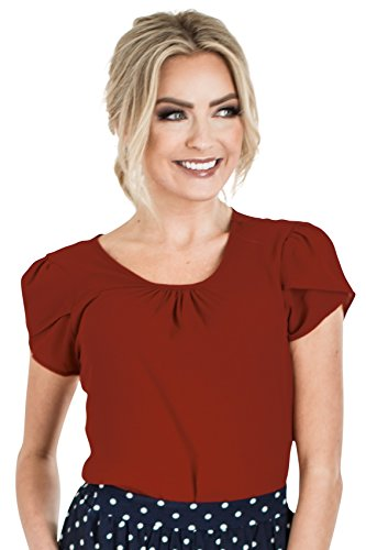 Mikarose Chiffon Modest Top in Deep Red, Modest Blouse in Crimson