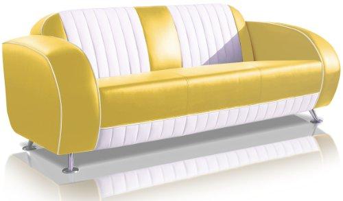 Preisvergleich Produktbild Bel Air Sofa Dinersofa Retro Style Couch Lounge Designer Sofa Wartemöbel (Yellow / White)