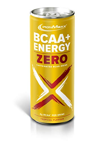 IronMaxx BCAA + Energy Drink Zero - 1 x 330 ml - Tropical - erfrischendes, zuckerfreies Sportgetränk mit essentiellen Aminosäuren, Vitamin B6, B12, C & Koffein - Designed in Germany