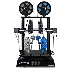 TENLOG Hands 2 3D Printer, Independent Dual Extruder 3D Printer with Upgrade Borosilicate Glass Bed And Silent Mainboards TMC2208 Drive Support PVA TPU PLA ABS,Direct Feed 3D Printer 8.6''x8.6''x9.8''