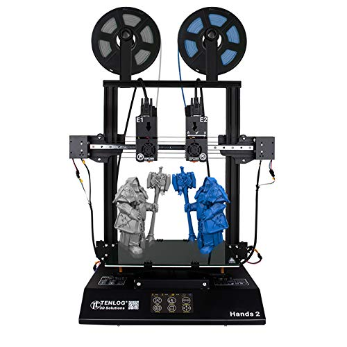 TENLOG Hands 2 Independent Dual Extruder 3D Printer,300 Degree High Temperature Nozzle,Upgrade Borosilicate Glass Bed and Silent Mainboards TMC2208 Drive Support PVA TPU PLA ABS,220x220x250mm