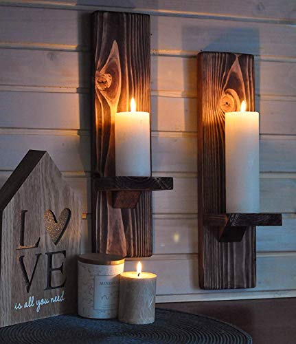 LocalBeavers Rustic Candleholders | Handmade Pillar Candle Sconce | Wallmounted Farmhouse Decor | Large Floating Shelves | Wall Mount Pillar Candle Sconce | Wallmount Ledge for Candles.