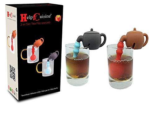 HelpCuisine® infusore per tè/Filtro per tè, Set da 2 Infusori per Te e Tisane a Forma di Teiera, Design Simpatico ed Originale Si Adatta a Tutte Le Tazze, Silicone 100% Alimentare Privo di BPA