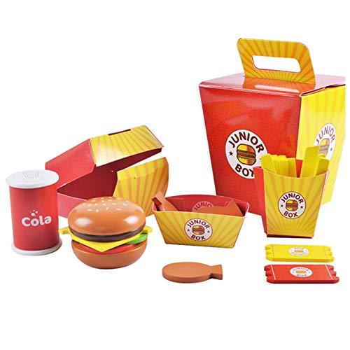 Juego de Comida, Juguete de Madera, Juego de Comida para niños Juego de Hamburguesa y sándwich de Madera para niños Juego de Juguete de Comida de Cocina de Alimentos