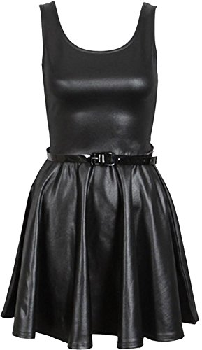 Chocolate Pickle ® Neue Frauen Shinny Wetlook PVC Röcke Ober Kleid 52-54 Wet Look Skater Dress