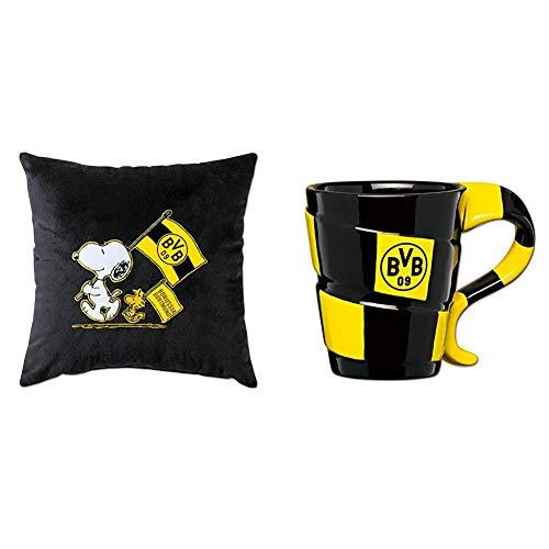 Borussia Dortmund BVB-Snoopy Kuschelkissen schwarz (38x38cm) & BVB-Tasse mit Schal-Design