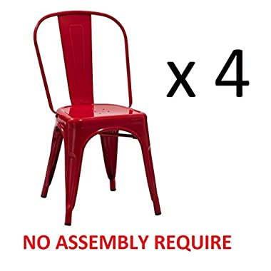 Duhome 4 PCS Stackable Metal Dining Chair Restaurant Cafe Kitchen Indoor Outdoor NO ASSEMBLY REQUIRE (Red)