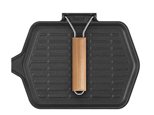 Home 728150 Poêle grill 1 poignée, fonte, rectangulaire,...