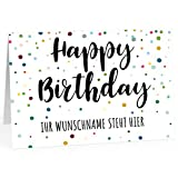XXL Geburtstagskarte (A4) | PERSONALISIERT | Buntes Konfetti | mit Umschlag | Glückwunsch zum Geburtstag | Klappkarte mit Ihrem Wunsch-Text | personalisierte Grußkarte | Maxikarte extra groß