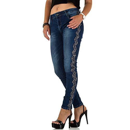 Ital-Design Pailletten Skinny Jeans Für Damen, Blau In Gr. M
