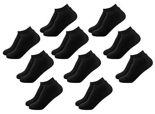 FOOTNOTE I 10 Paar I Sneaker Socken Ohne Gummi Ohne Naht Damen Herren Schwarz in 43 44 45 46